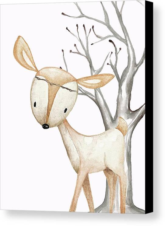 boho woodland baby nursery deer twine watercolor canvas print
