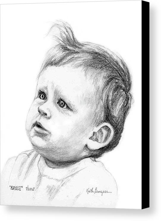 Portrait Canvas Print featuring the drawing Brodi by Keith Burgess
