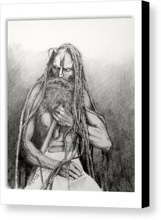 Holy Man Canvas Print featuring the drawing Holy Man by Kerry Burch