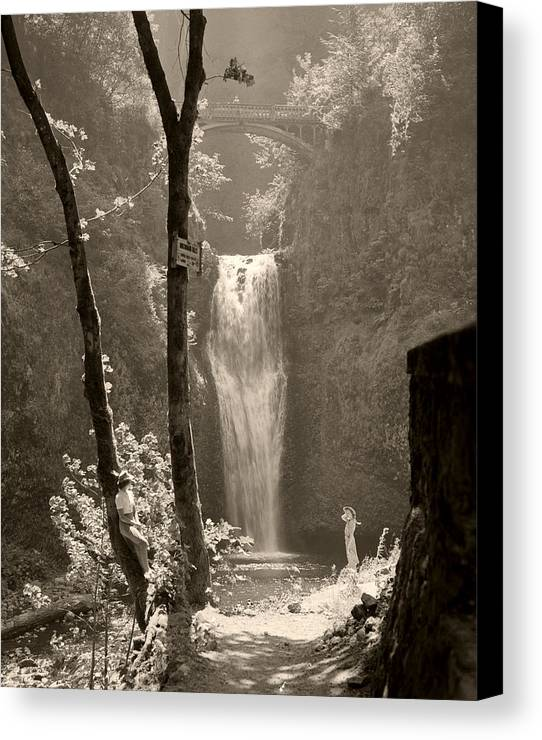 Multnomah Falls Canvas Print featuring the photograph Lower Multnomah Falls by Unknown