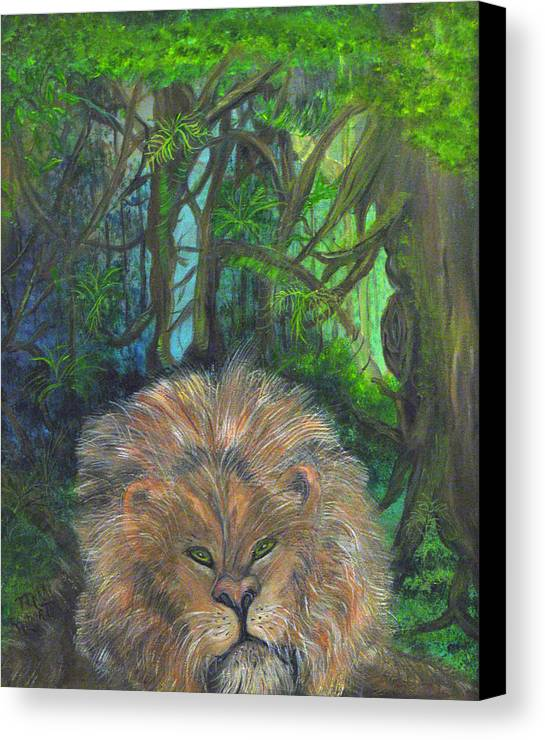 Lion Canvas Print featuring the painting Lying Lion by Mikki Alhart