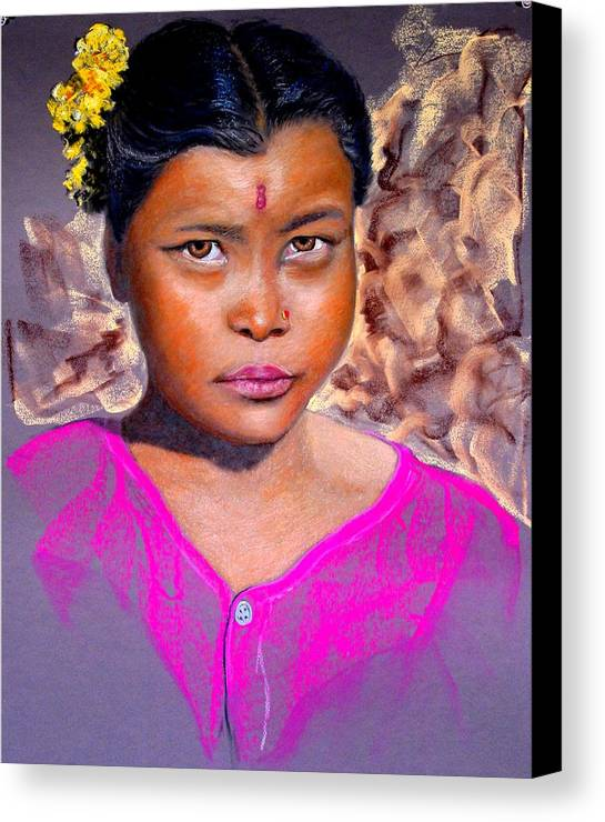 Nepal Canvas Print featuring the painting Nepalese Girl by David Horning