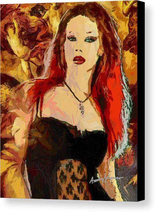 Rock Canvas Print featuring the painting Rock Diva by Anthony Caruso