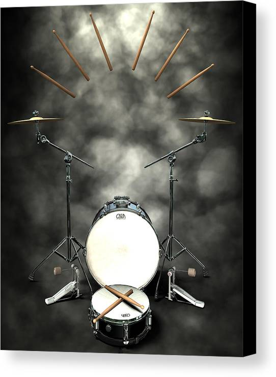 Rock N Roll Canvas Print featuring the digital art Rock N Roll Crest-the Drummer by Frederico Borges