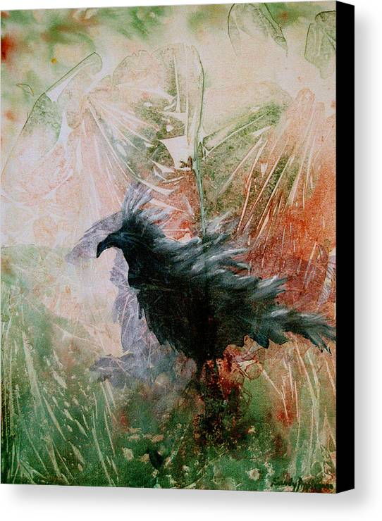 Raven Canvas Print featuring the painting The Raven Sitting Lonely by Sandy Applegate