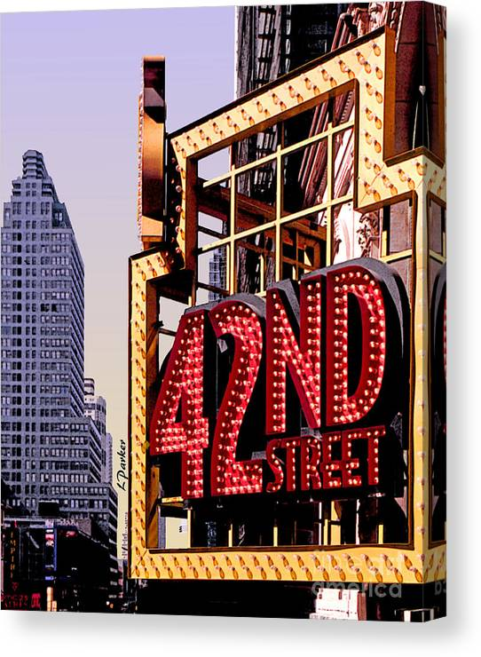 Scenic Canvas Print featuring the photograph 42nd Street New York City by Linda Parker