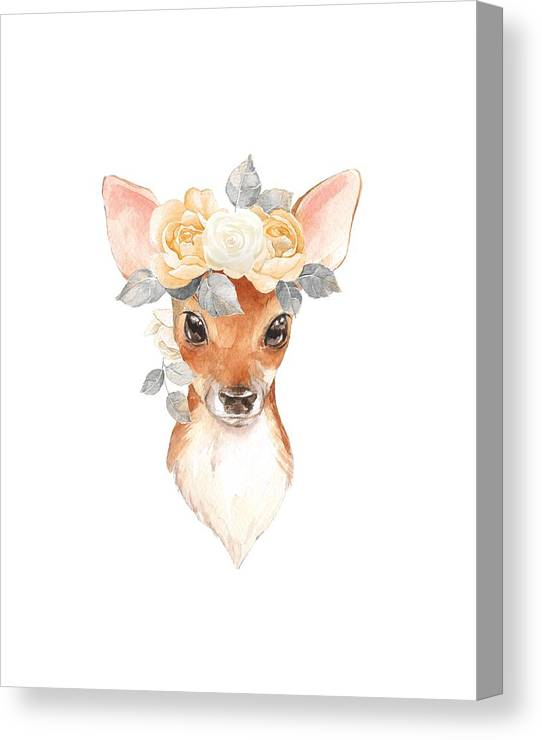 Deer Canvas Print featuring the digital art Blush Floral Deer by Pink Forest Cafe