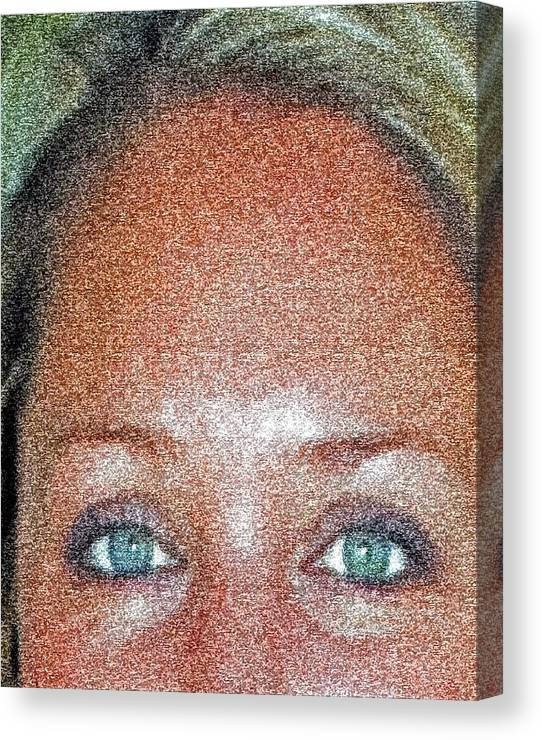 Eyes. Portraits Canvas Print featuring the mixed media Look Into My Eyes And I Will Tell You No Lies. by Jorge Gaete