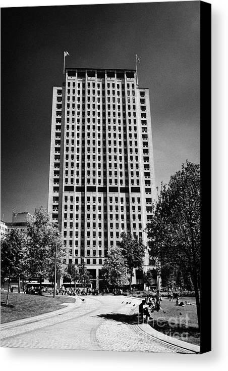 Shell Canvas Print featuring the photograph shell centre tower and jubilee gardens southbank London England UK by Joe Fox