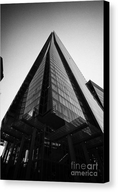 Shard Canvas Print featuring the photograph looking up at the shard building London England UK by Joe Fox