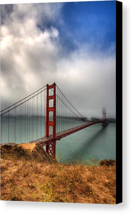 California Canvas Print featuring the photograph Golden Gate In The Clouds by Peter Tellone