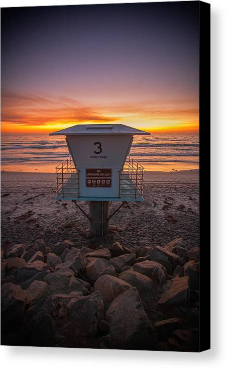 Beach Canvas Print featuring the photograph Lifeguard Tower At Dusk by Peter Tellone