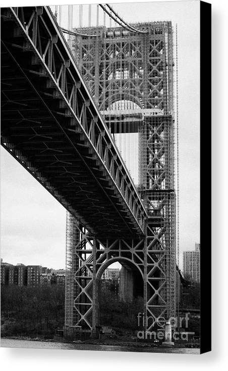 Usa Canvas Print featuring the photograph Little Red Lighthouse Beneath The George Washington Bridge Hudson River New York Nyc by Joe Fox