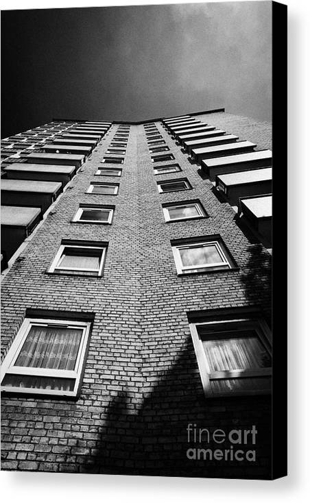 Stangate Canvas Print featuring the photograph looking up at stangate house 1950s tower block flats housing lambeth London England UK by Joe Fox
