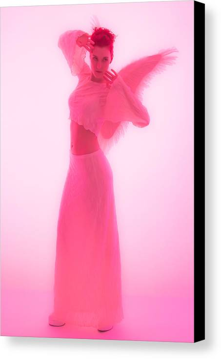 Angel Model Woman Female Wings White Pink Stomach Dress Heels Canvas Print featuring the photograph Angel 25 by Studiodreas Photography