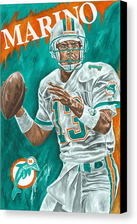 Dan Marino Miami Dolphins Football Quarterback Sports David Courson Canvas Print featuring the painting Surveying The Field by David Courson