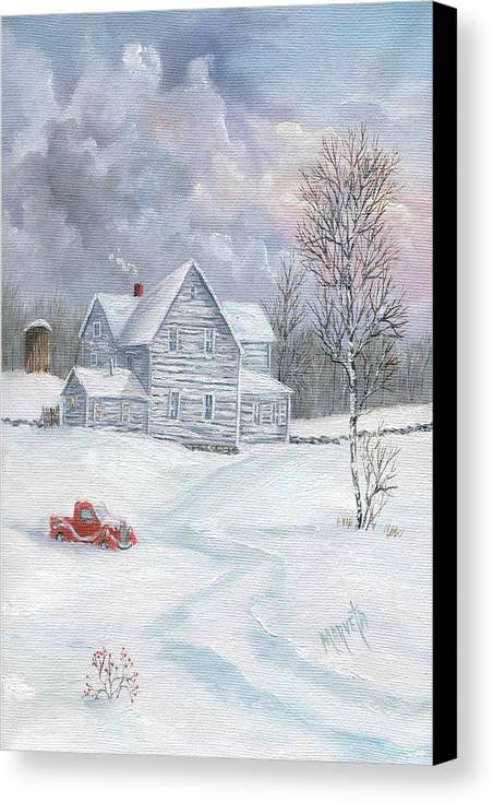 Landscape Snow Landscape Canvas Print featuring the painting A Peaceful Day by Marveta Foutch
