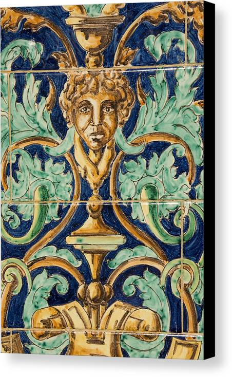 Ceramic Canvas Print featuring the photograph Azulejo Tile by Jan Kapoor