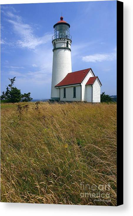 Lighthouse Oregon cape Blanco Light Coast Canvas Print featuring the photograph Cape Blanco Light by Winston Rockwell