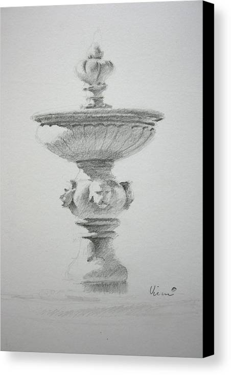 Graphite On Paper Canvas Print featuring the drawing Fountain Two by Michael Vires