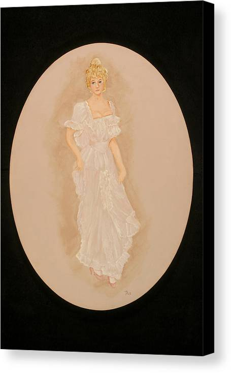 Woman Canvas Print featuring the painting Gay 90s Woman In White by Betty Stevens