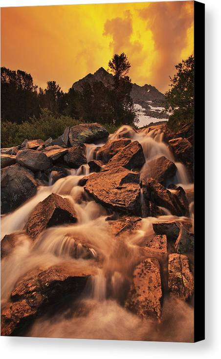 Sierra Canvas Print featuring the photograph Gem Lakes Cascade Sunset by Nolan Nitschke