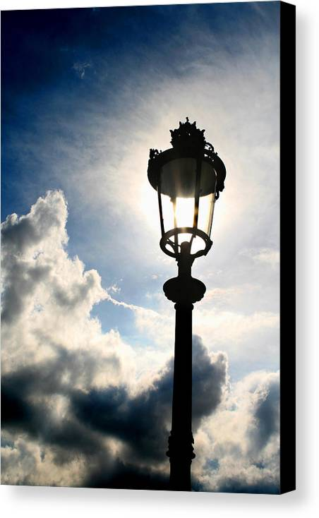 Paris Canvas Print featuring the photograph Lamp Post At The Louvre by Greg Sharpe