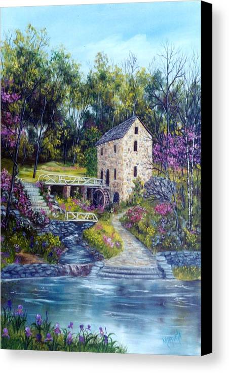 Landscape Canvas Print featuring the painting Old Mill  Spring by Marveta Foutch