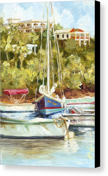 Boats Canvas Print featuring the painting Parking Lot by Monica Linville