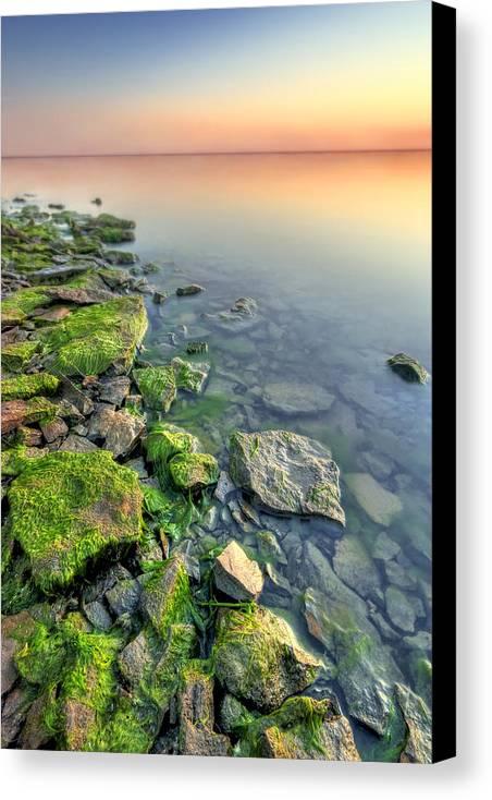 Landscape Canvas Print featuring the photograph Rocky Shoreline by Ryan Heffron