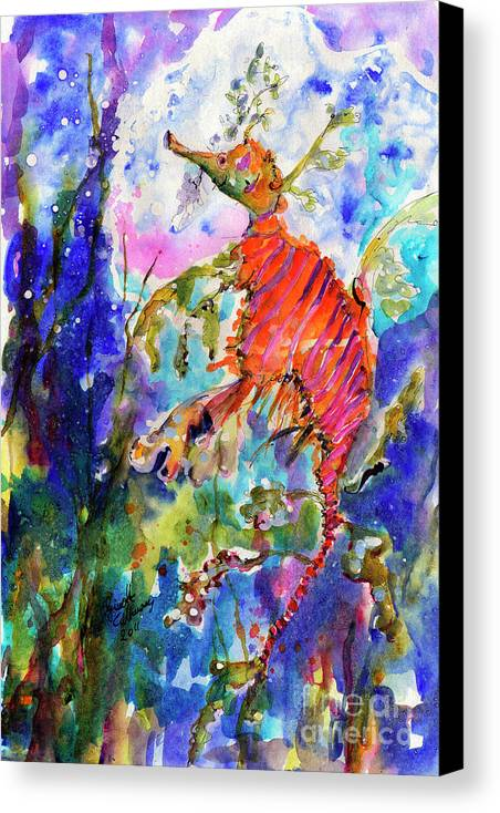 Seadragons Canvas Print featuring the painting Sea Dragon Wonderland by Ginette Callaway