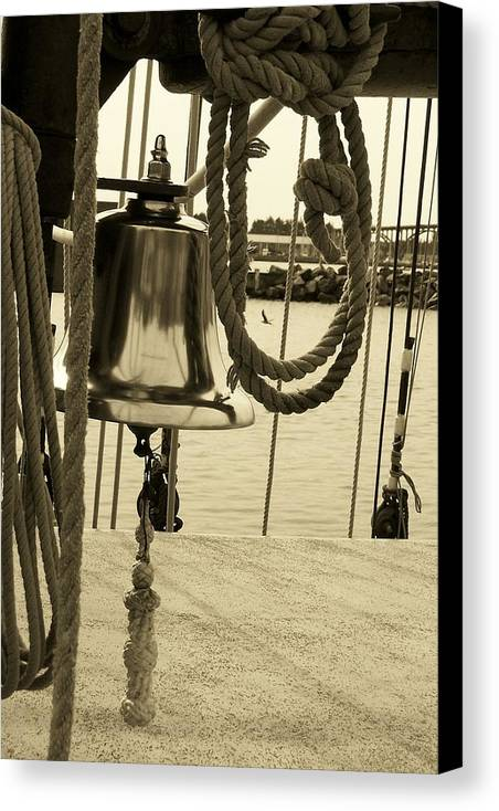 Rope Canvas Print featuring the photograph Ship's Bell Sepia by Mark Cheney