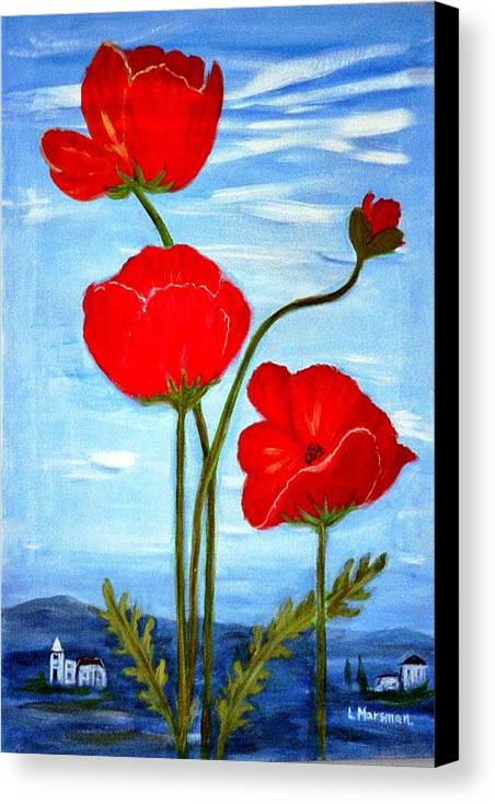 Flowers Canvas Print featuring the painting Tuscan Poppies by Lia Marsman