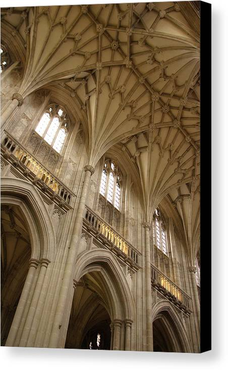 Winchester Cathedral Canvas Print featuring the photograph Vaulted Ceiling by Michael Hudson