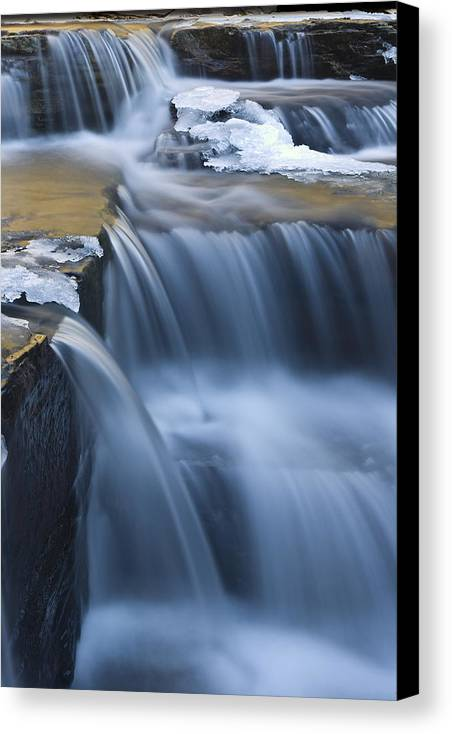 Waterfalls Canvas Print featuring the photograph Waterfalls In Blue And Gold by Jim Dohms