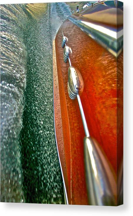 Wooden Boat Canvas Print featuring the photograph Riva Wake by Steven Lapkin