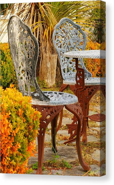 Bistro Table Canvas Print featuring the photograph Bistro Table-color by Loni Collins