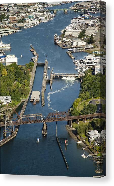 America Canvas Print featuring the photograph Hiram M. Chittenden Ballard Locks by Andrew Buchanan/SLP
