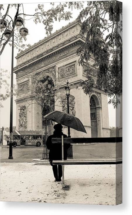 France Canvas Print featuring the photograph Snowing In Paris by Matthew Pace