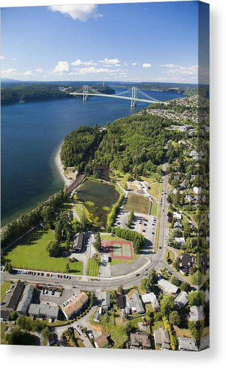 America Canvas Print featuring the photograph Titlow Park And Tacoma Narrows Bridge by Andrew Buchanan/SLP