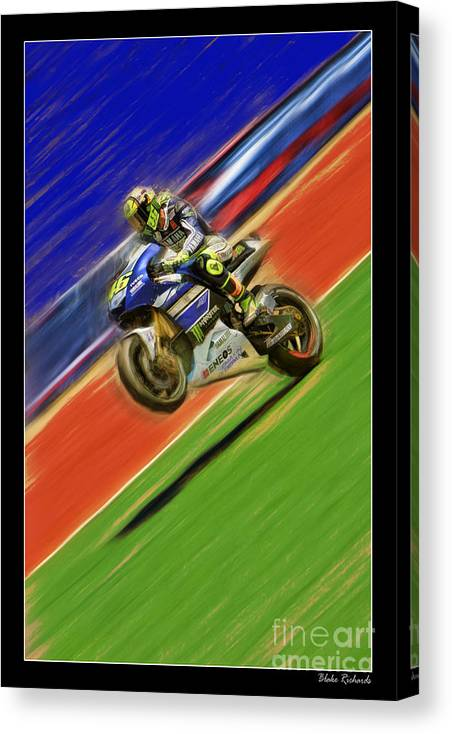 Valentino Rossi Canvas Print featuring the photograph Valentino Rossi Wheely Down The Blue Red And Green by Blake Richards
