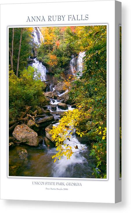 Landscape Canvas Print featuring the photograph Anna Ruby Falls by Peter Muzyka