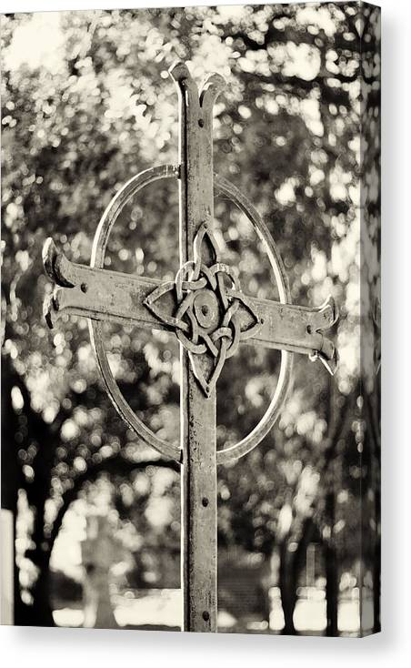 Cross Canvas Print featuring the photograph Cross At Dublin Pioneer Cemetery by Troy Montemayor