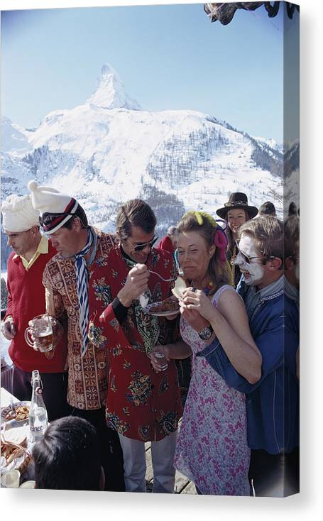 People Canvas Print featuring the photograph Zermatt Skiing 3 by Slim Aarons