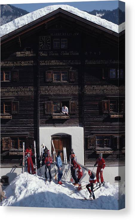 Skiing Canvas Print featuring the photograph Klosters Florin House by Slim Aarons