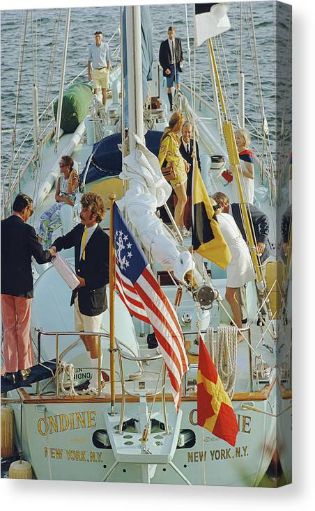People Canvas Print featuring the photograph Party In Bermuda by Slim Aarons