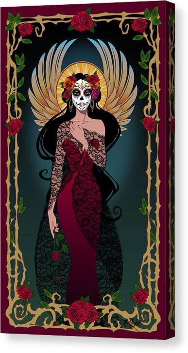 Dia De Los Muertos Canvas Print featuring the digital art La Rosa by Cristina McAllister