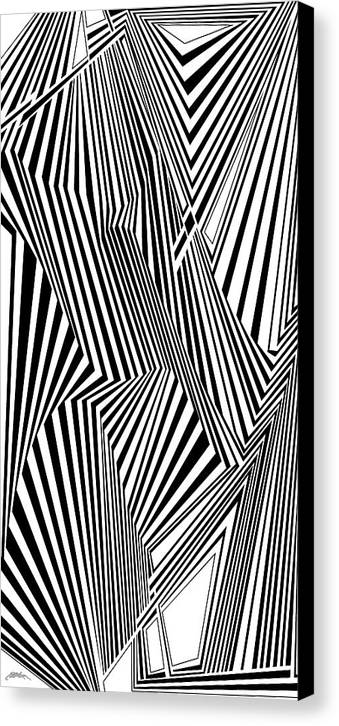 Dynamic Black And White Canvas Print featuring the painting Almost Like Believing by Douglas Christian Larsen