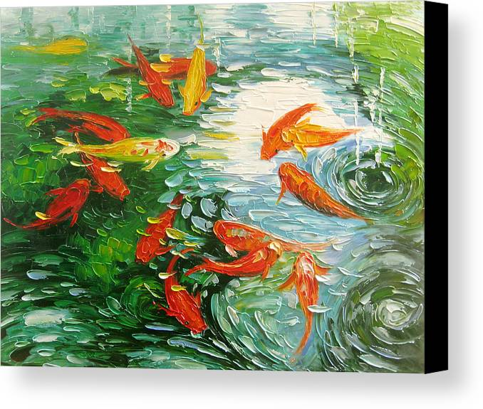 Koi fish canvas print canvas art by enxu zhou for Koi canvas print