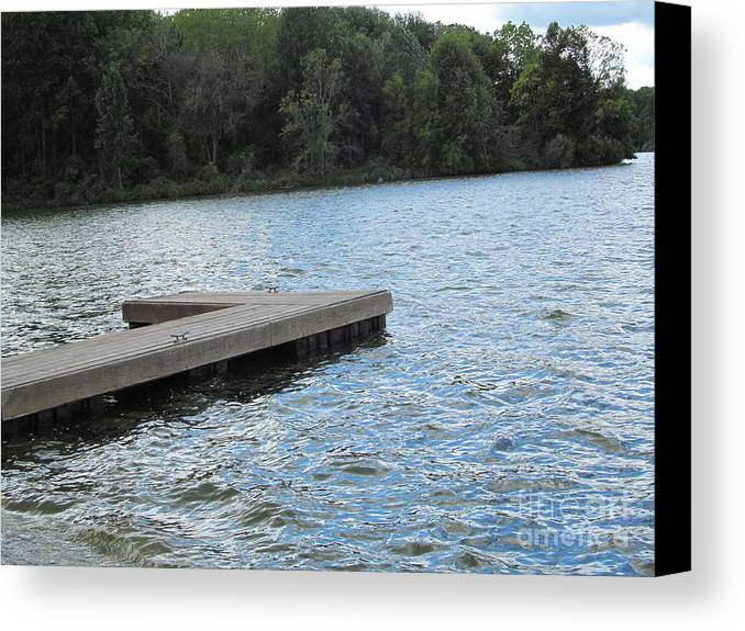 Lake Canvas Print featuring the photograph Left Boat Dock by Tina M Wenger